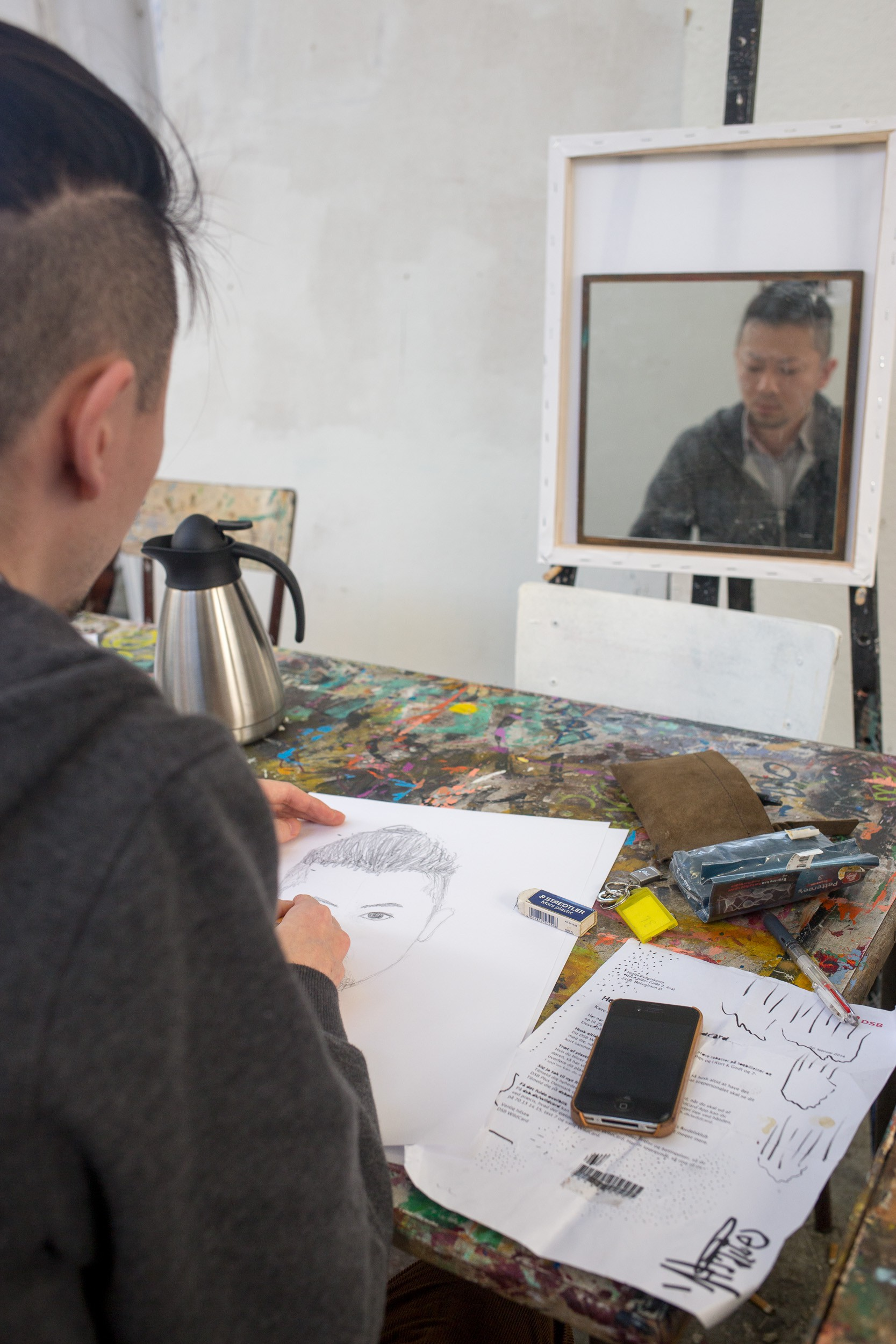 Selvportræt opgave på Tegning / Maleri