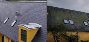Ladgaardens Vestfløjs gamle og nye tag Kunsthøjskolen i Holbæk 2019