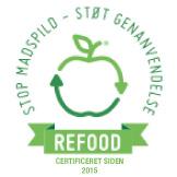 REFOOD mærket er en ordning for virksomheder og organisationer i fødevare- og servicesektoren, som gør en indsats mod madspild og for genanvendelse.