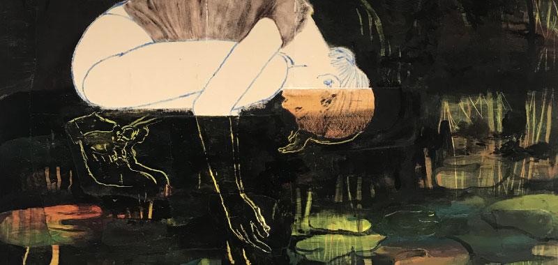 Untitled, 2019, Oil and Acrylic on Canvas, 160x140cm – Artist talk med Mie Mørkeberg på Kunsthøjskolen I Holbæk 31. oktober 2019 kl. 20.00