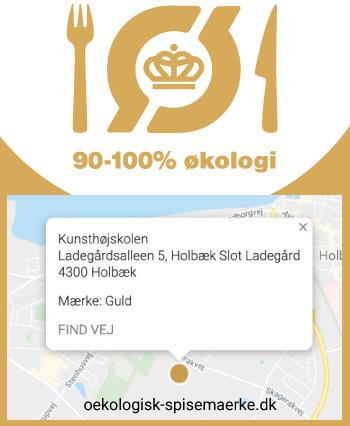 Det Økologiske Spisemærke viser, hvor stor en del af de indkøbte føde- og drikkevarer på spisestedet, der er økologiske. Spisemærket findes i tre udgaver Kunsthøjskolen I Holbæk har guld mærket, som gives når 90-100% af indkøbte føde- og drikkevarer er økologisk